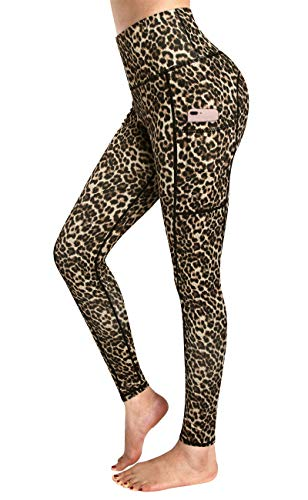Enmain Women's High Waist Yoga Pants with 2 Pocket Leopard Printed Workout Leggings Tummy Control Non-See-Through Gym Running Compression Tights Pants Brown