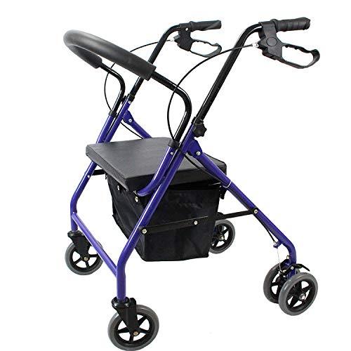 ZHHB Faltbarer Allrad-Rollator-Gehhilfe, Leichte Gehhilfe Für Ältere Menschen Mit Gepolstertem Sitz, Höhenverstellbare Hilfe Bei Eingeschränkter Mobilität Für Kofferraum, Reise Und Flug,B