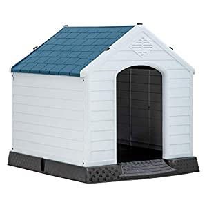 BestPet Dog House Indoor Outdoor Pet Kennel with Air Vents and Elevated Floor Ventilate Waterproof Plastic Dog House for Small Medium Large Dogs,Easy to Assemble
