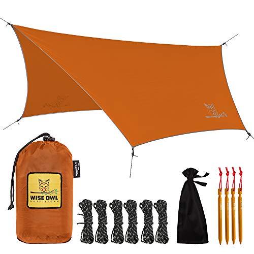 Wise Owl Outfitters Camping Tarp - 11 x 9 feet Lightweight & Waterproof Hammock Tarp w/ Easy Setup -...