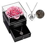 Geschenke für sie konservierte echte Rose Schublade Ewige handgemachte konservierte Rose mit Halskette 100 Sprachen Geschenk, verzauberte echte Rose Blume zum Valentinstag Muttertag (Süßes Rosa)