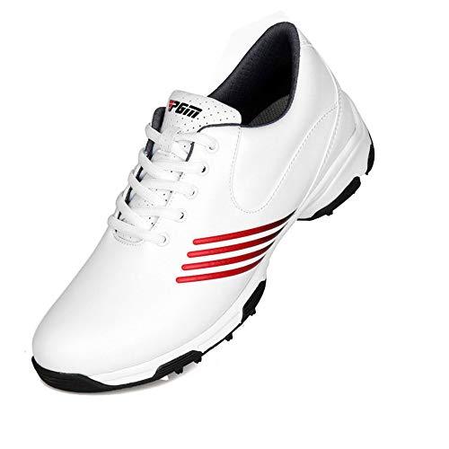 FJJLOVE Kinder Golf Sneaker, wasserdichte Golfschuhe Breathable Anti-Skid Walking Schuh Leichtes Jogging Und Fitnessstudio Fitness Sportschuh Für Jungen-Mädchen-Frauen,Rot,36
