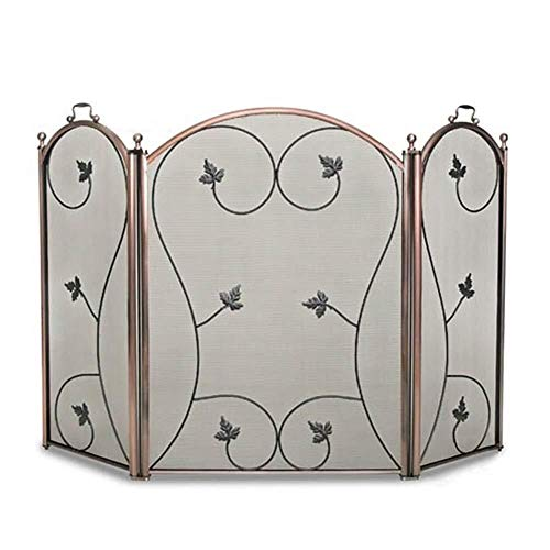 Why Choose Screen J-Fireplace 3 Panel Flat Guard Fireplace, Wrought Iron Frame with Metal Mesh, Free...