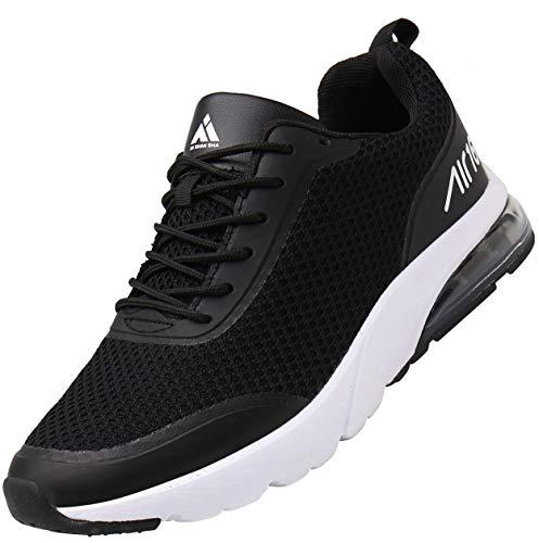 Mishansha Unisexo Low Top Zapatillas de Deporte Conveniente Cordones Hombre Mujer Calzado de Jogging Caminar Moda Ligero Zapatos Casuales Cómodos Plano Exterior Interior, Sneaker Negro 41