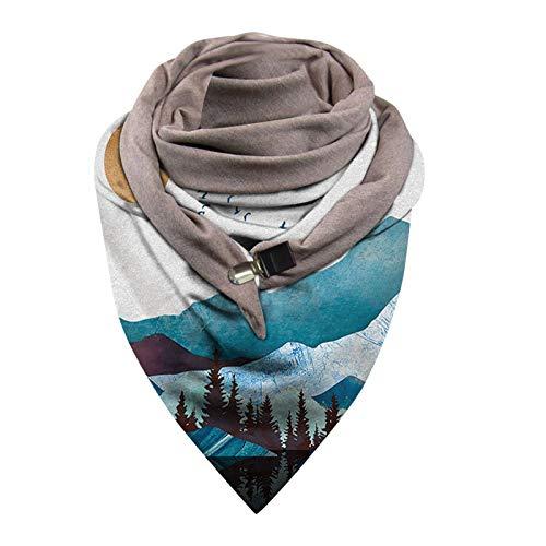 Lbert - Bufanda de invierno para mujer, diseño retro y elegante, para otoño, invierno, a rayas, con botón de presión, multifunción G4. Talla única