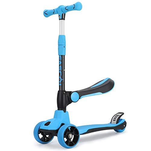 Fascol 2-in-1 Kinderroller Dreirad Scooter Kinderscooter mit Weichem Klappsitz, PU-LED Räder und Verstellbare Lenker Kinder Roller für Kinder ab 18 Monate-8 Jahre, Blau