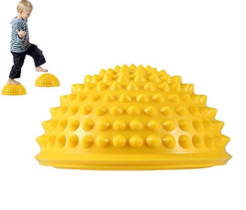 MT-Sport 半球 バランスボール 2個セット 大人から子供まで フット ヘルス ボール ミスター アルマジロ バランス トレーニング 【空気入れおまけ付】 (Yellow)