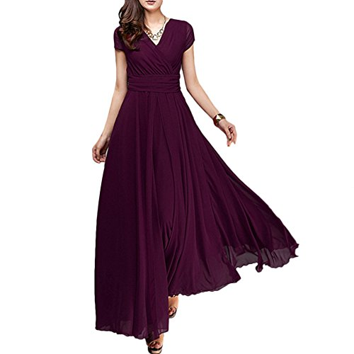 Women Vintage Deep V Neck Chiffon Long Bridesmaid Dress Wedding Pageant Party Prom Formal Cocktail Evening Gown Maxi Dress Deep Purple X-Large