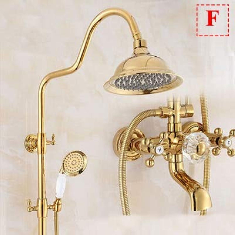 Luxury Golden Shower Bathroom Brass Rainfall Shower Set Faucet + Tub Mixer Tap + Handheld Shower Wall Mounted,F