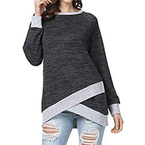 MQYXGS Suéter Casual Camisa de Todo fósforo para Damas suéter de Manga Larga Cuello Redondo Color Mezclado Top Irregular Camiseta Superior de Primavera y otoño suéter Suelto de Moda de Gran tamaño