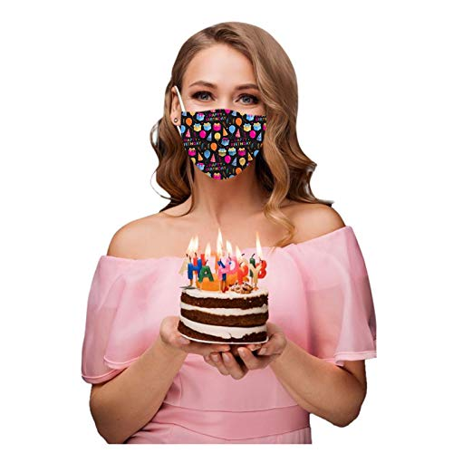 CawBing Birthday Gifts Disposablē_Face_Masks for Her Him 50PCS Happy Birthday Printed Decorations Balaclava 3-ply Comfort Breathable Face_Coverings with Elastic Earloop Protection Bandana