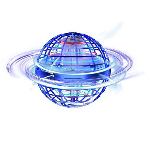Tomzon Mini Drohne Fliegender Ball Spielzeug, Handgesteuerter Flugball mit LED Leuchten, 360° Drehung, 15min Flugzeit USB Aufladung, Kreiselflug und Schweben für Kinder Erwachsene -Blau
