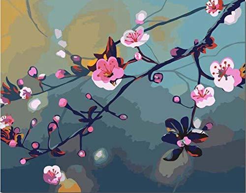TGHYU Pintura Digital para Adultos Bricolaje Pintura Digital Adultos Niños Pintura por Número Kits Flower Plum 16 * 20 Pulgadas (Sin Marco)