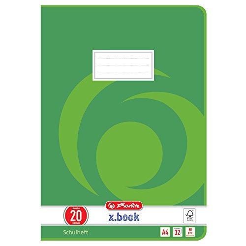 Herlitz 340208 Heft A4, 32 Blatt, Lineatur 20, FSC Mix, 5 Stück