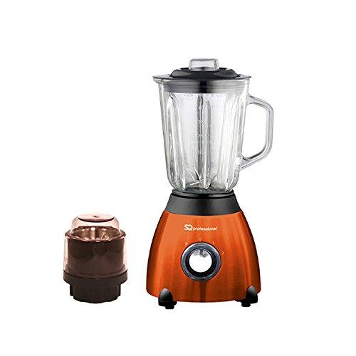SQPro 500W Blender con 1,5 litri di vetro Misurini e Grinder per ingredienti secchi viola, rosso, nero o argento (ambra arancione)