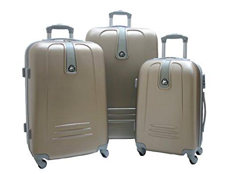 JustGlam - Set 3 Trolley 1305, valige rigide in ABS policarbonato, bagaglio piccolo da cabina, chiusura con lucchetto / Champagne