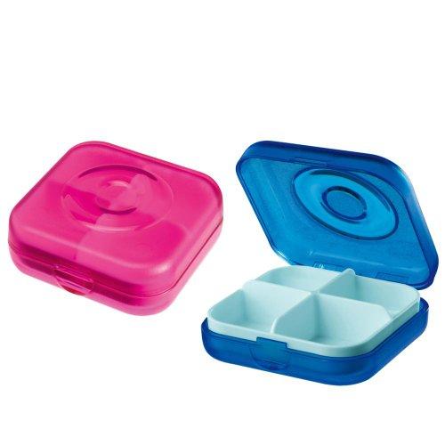 Pillenbox WELL.COM, transparent pink/blau
