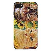 ひまわりと猫2 iPhone11携帯電話ケース 全面保護 耐衝撃性 多機能 携帯カバー おしゃれ 人気 スマホ かわいい