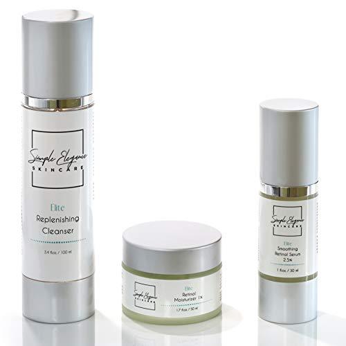 Simple Elegance Skin Care Retinol Anti-Aging Set | Replenishing Cleanser | Retinol Serum 2.5% | Retinol Moisturizer 1% - Face Cream | Smooth Uneven Skin | Minimize Pore Size | Reduces Fine Lines and Wrinkles