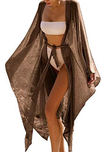 Carolilly Copricostume Donna Mare Lucido Abito da Spiaggia Lungo Sexy Elegante Bikini Cover Up in Pizzo Vestito Lungo per Vacanza Cardigan Donna Estivo (Marrone, Taglia Unica)