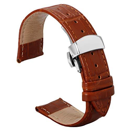 22mm Hellbraun echt Band Uhrenarmband Uhrenarmband Faltschliesse Leder Uhr mit Federstab