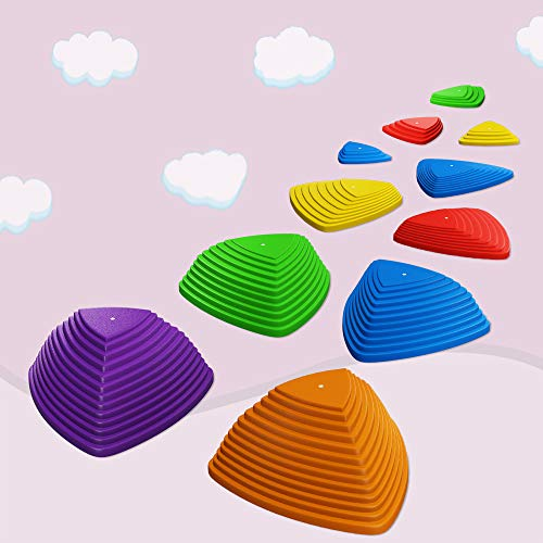 11 PCS Balance Stepping Stones with Non-Slip Rubber Foot Grips Obstacle Course for Kids Children 6 Colors 4 Sizes Steepness Indoor Outdoor Plastic Blocks Toy Promotes Toddler's Coordination Strength