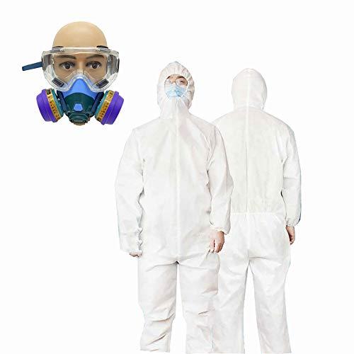 LISI Einweg-Schutzanzug, gegen Epidemie Kleidung, SMMS, Vlies, Staubschutz für Wimpern mit Brille und Zubehör, für Hygiene XXL A.
