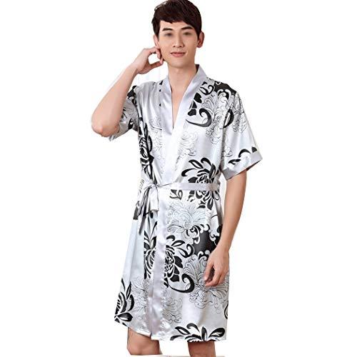 AXIANQI mannen en vrouwen in het voorjaar en de zomer paar satijnen pyjama's sexy mooi gedrukte badjas huiskleding A