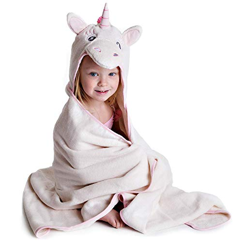 Premium Hooded Towel for Kids | Unicorn Design | Ultra Soft and Extra Large | 100% Cotton Bath Towel with Hood for Girls by Little Tinkers World