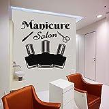 Tatuajes de Pared Logo Sign Pegatina manicura salón de Belleza Mujer Cara Hair Salon Mural 42X42cm