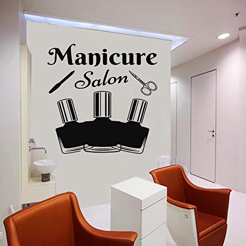 Tianpengyuanshuai Wandtattoo Logo Zeichen Aufkleber Maniküre Schönheitssalon Frau Gesicht Friseursalon Wandbild 63X63cm