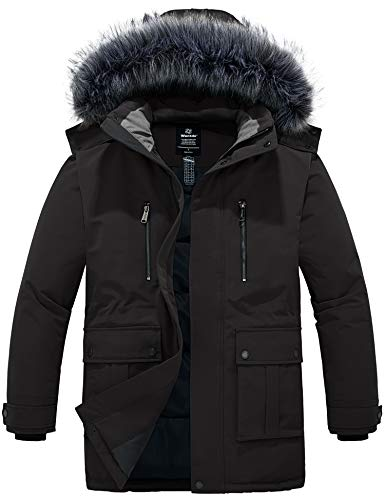 Wantdo Men's Winter Warm Puffer Jacket Cotton Coat with Fur Hood Black XL