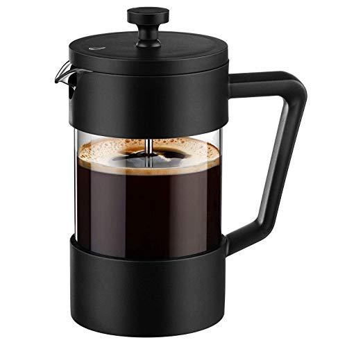 Tiamu Kaffeebereiter French Press und Teebereiter 12Oz, Eingedickte Borosilikat Glas Kaffee Presse Rostfrei und SpüL Maschinen Fest, Schwarz