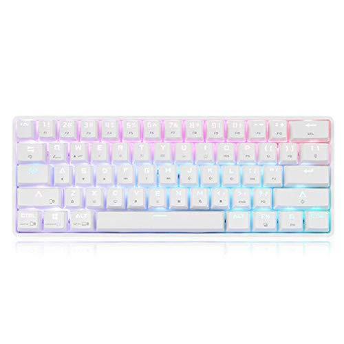 bansd DK61 Kabellose und kabelgebundene Dual-Mode 61-Tasten Mechanische Tastatur RGB Gaming Tea Axis Weiß