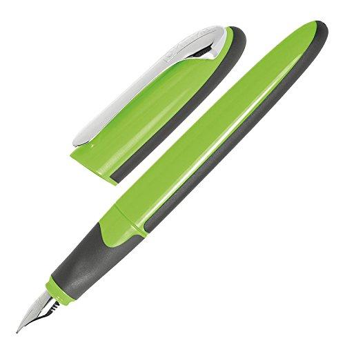 ONLINE 20080/3D - Füllhalter Air Green, Dreiecksform, ergonomisches Griffstück, Iridiumfeder F (fein), stabiler Metall-Clip, inkl. Tintenpatrone blau, grün/schwarz