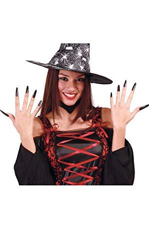 Guirca- Blíster de 10 uñas de bruja con adhesivo, Color negro, talla única (15090)