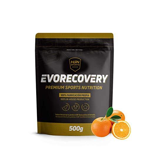 Recuperador Muscular Evorecovery de HSN Sports | Todo en Uno para el Deportista | Carbohidratos, Proteína Hidrolizada, Aminoácidos Esenciales, Minerales | Vegetariano, Sin Gluten, Sabor Naranja, 500gr