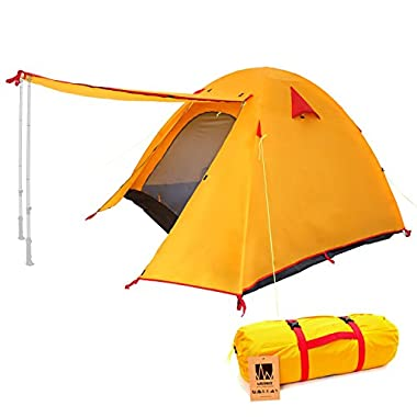 WEANAS Professional Backpacking Tent 2 3 4 Person 3 Season Weatherproof Double Layer Large Space Aluminum Rod for Outdoor Family Camping Hunting Hiking Adventure Travel (Orange, 2-3 Person)