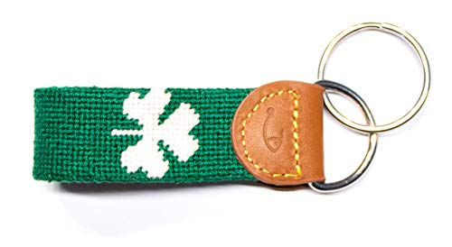 Hand-Stitched Needlepoint Key Fob or Key Chain by Huck Venture (Shamrock)