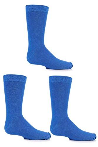 Jungen und Mädchen 3 Paar SockShop Einfarbige Bambus Socken mit Komfortmanschette und Handverknüpfte Zehen - Denim 31-36