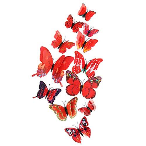 YeahiBaby - Adhesivos Decorativos en 3D para la Pared (12 Unidades), diseño de Mariposas, Color Rojo
