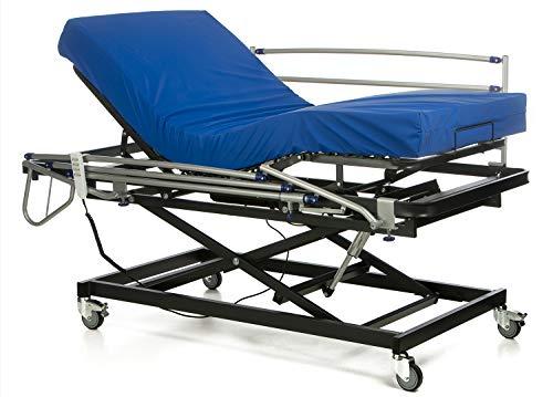 Ferlex - Cama articulada asistencial con Carro Elevador y Ruedas | Colchón Sanitario viscoelástico | Barandillas abatibles (105x190)