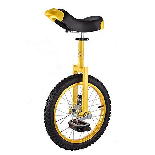 HWF Einrad Kinder Einrad 16-Zoll-Rad für Anfänger 9/10/12/13/14 Jahre Alt, Gut für Deine Tochter/Sohn, Mädchen, Junge Geburtstagsgeschenk, Verstellbarer Sitz (Color : Yellow)