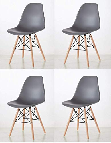 Millhouse Dining Chairs Retro Style Side Dining Office Modern Lounge Chair (Steel-Grey, 4)