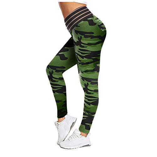 Pantalones Deportivos Camuflaje para Mujer Leggings de Cintura Alta Pantalón de Deporte Transpirables Elásticos con Bolsillos Leggins Push Up Mallas de Yoga para Correr Gym Fitness Estiramiento