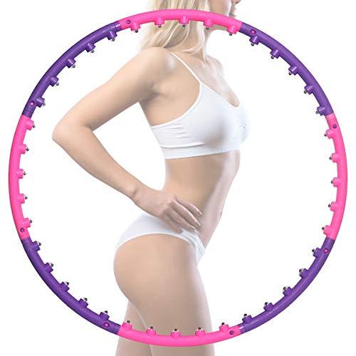 Charminer Fitnesskreis, Fitness Hoop, Gewichtsverlust Schlankheitskreis mit Magnetballmassageeffekt, 8 abnehmbare Teile, 1 kg, freie Füllung zur Gewichtszunahme, mit Mini Bandmaß