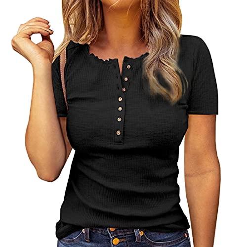 Camiseta de Lino con Cuello en V de Manga Corta para Mujer Manga Corta con Cuello en V Botón Túnica Informal Suelta Tops Blusa Camisetas de Ajuste Regular Camiseta de Rayas Camisetas de Color sólido