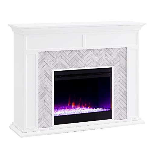 SEI Furniture Torlington Tiled Color Changing Electric Fireplace, White/Gray Marble