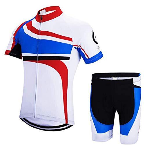Jnsio Hombre Traje Ciclismo Manga Corta Suit con Pantalones Cortos para Deportes al Aire Libre en Bicicleta Nadar Correr,XXXL