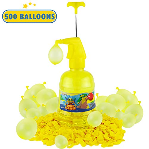 Water Air Balloon Pumping Station Emoji Blaster - 500 Balloons Water Filler Balloon Pump Kit- Summer Outdoor Backyard Fun Activity For Kids